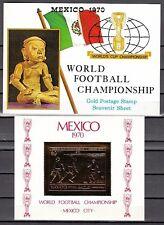 Manama, Mi cat. 269, Bl58. World Cup Soccer, Gold Foil s/sheet. S/Folder
