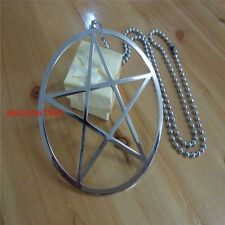 Mens Silver Stainless Steel Large 4'' pentagram symbol of Wicca paganism Pendant