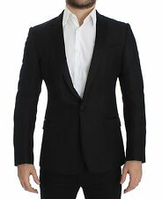 NWT $2000 DOLCE & GABBANA Black Wool Silk Slim MARTINI Blazer Jacket IT44 / US34