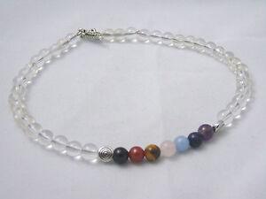 Anklet Bracelet 7 Chakra Gemstones Clear Quartz Crystal Healing Natural Stone