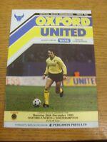 26/12/1985 Oxford United v Southampton  . Footy Progs (aka bobfrankandelvis) are