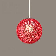 Modern Rattan Wicker Ball Ceiling Light Pendant Round Lamp Shade Simple Fixtures