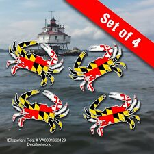 "Maryland Flag Blue Crab vinyl decal 3""x 4"" set of 4 window stickers"