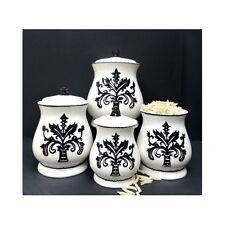Black & White Kitchen Canister Set 4 PC Ceramic Fleur De Lis Storage Seal Gasket