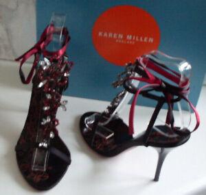 KAREN MILLEN London Designer Red Black Jewel Heels Sandals Size EU 36 UK 3 NEW