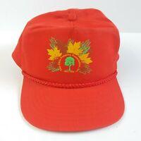 Vintage Ohio Tree Farm Association Snapback Hat Orange Leaves Fall Trucker Cap