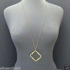 Unique Long Antique Gold Chain Open Clover Designer Inspired Pendant Necklace