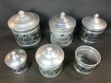 Lot de pots de cuisine en alu vintage pot à café épices farine pates thé