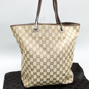 GUCCI GG Pattern Canvas Tote Bag Shoulder Purse Brown Beige 31243 002404