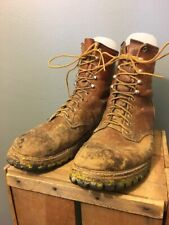 Vtg Red Wing Irish Setter Boots Mens 12 D Logger Work Safety Brown Leather USA