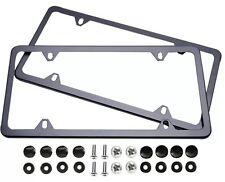 2Pcs Slim Black Stainless Steel License Plate Frame Screw Cap /Slim 4 Hole Bf-2