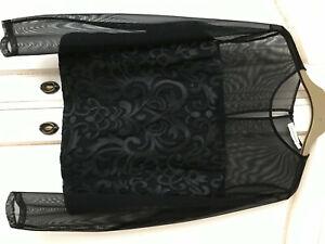 Ladies Black Lace & Mesh evening top. PARAPHRASE Size 12