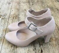 CLARKS NARRATIVE Kendra Gaby Nude Leather Mary Jane Courts Heels Shoes ~UK 4.D~