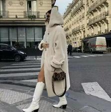 H&M Trend 2019 Teddy Hooded White/Beige faux fur Coat! Bloggers fav! S 8 10 12