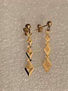 Vintage Solid 9ct Gold Diamond Shaped Pair 2.7cm Drop Dangle Ladies Earring's
