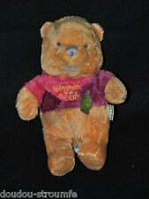 Peluche Doudou Ours Winnie DISNEY NICOTOY Tee Shirt Rose Bordeaux Feuille 19 Cm
