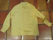 Vintage 1940s 50s BAYARD YELLOW COTTON GAB GABARDINE LOOP COLLAR SHIRT M 15-15
