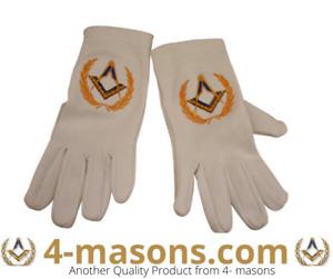 Masonic white gloves  with square and compass + Free Masonic Sticker worth £3.25