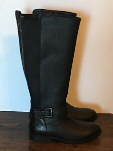 A new day Knee High Boots Riding Size 6 Style Faux Leather Zip Closure Black