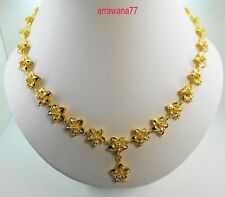 Flower 23K 24K Thai Baht Yellow Gold Women Girl Necklace Pendant Choker Snake 7