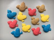 Edible Sugarpaste Birds -cake topper x 12 Multi Colours