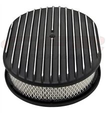 """Aluminum 12"""" Oval Air Cleaner Paper Filter Polished Finned - Black"""
