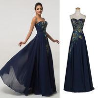 CHEAP~Vintage Peacock Bridesmaid Graduation Evening gown Prom Long Maxi Dress