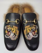 Gucci Black Princetown Fur Leather Tiger Embroidery Men's Loafer Size 8 UK/ 9 US