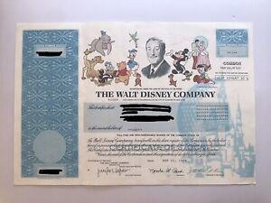 Walt Disney Company Stock Certificate 1999 - 1 Share (Color, Vignettes, Eisner)