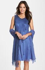 Komarov Tiered Chiffon silk prom Dress & Shawl Blue/purple/grey New sz M 6-8-10