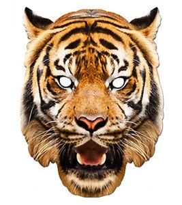 Tigre Animal 2D Carte Fête Masque Visage Déguisement Zoo Thème Exotique