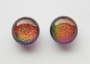 Dichroic Glass Sterling Silver Stud Earrings - Amber Purple Shimmer