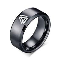1Pc Men Engraved Norse Viking Valknut Ring Stainless Steel Ring Black Gifts