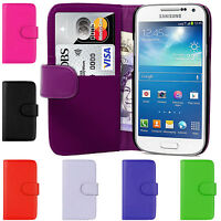 PU Leather Wallet Magnetic Side Flip Case Cover For Samsung Galaxy S4 Mini i9190