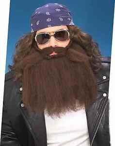 Fake BROWN Mustache Beard Full Bushy Facial Hair Biker Farmer Caveman Costume
