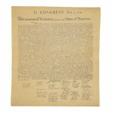 US Declaration of Independence Historical Document on Antiqued Parchment Paper