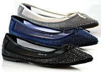 Ladies Womens New Slip On Net Studded Bow Ballerina Flats Pumps Shoes Size 3-8