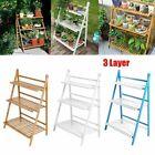 Wooden Flower Rack Ladder Plant Stand Foldable Pot Holder Step Bookshelf 3 Tier*
