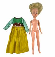Vintage 1960's Horsman for Disney Poor Cinderella Yellow Blue Green Dress Doll