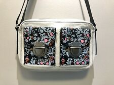 FOSSIL Leather Crossbody bag purse,White/Black with Flower Print