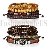 Brown Leather Tribal Beaded Cuff Wristband Bangle Bracelet for Men Women 2 Sets