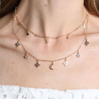 Women Summer Chain Multilayer Choker Necklace Star Moon Pendant Charm Necklace