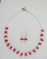 Lee Sands White Pearl & Red Coral Stem Necklace & Earrings