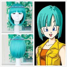 Drogon ball Bulma Cosplay Teal/Green/blue Short straight Bob Style Wig+a wig cap
