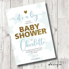 Boys Baby Shower Personalised Invitations x 8
