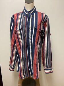 Vtg Men's Wrangler Western Cowboy Button Up Rodeo Shirt Striped Sz 16 L Denim