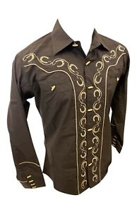 Men RODEO WESTERN COUNTRY BROWN BEIGE STITCH TRIBAL BUTTON UP Shirt Cowboy 05500