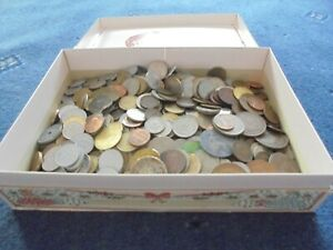 Old  Box of old coins collection of old coins 2200 grams