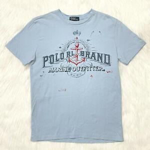 Polo Ralph Lauren Boys T Shirt Size M (10-12) Blue Marine Outfitter 1967 EUC