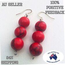 Red Turquoise Earrings Boho Drop Long Bead Bling Black Stone Elegant Gift Hippy